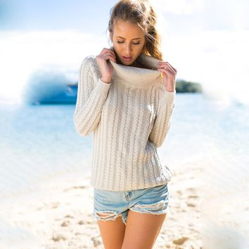 Casual Cut Out Back High Collar Beach Sweater