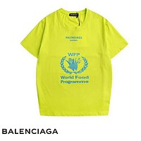 Balenciaga Summer Fashion New Letter Leaf Print And Back Letter Print Couple Top T-Shirt Fluorescent Green