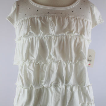 Faded Glory Rhinestone Short Sleeve Top, size Large, 10/12