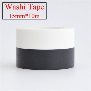 1pcs 15mm*10m Kawaii Scrapbooking Tools DIY Solid Color white black, Paper Washi Tapes Masking Tape Photographic tape 02492