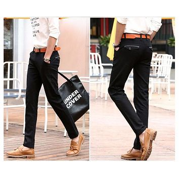 Mens Color Slim Chino Soft Denim Stretch Jeans Pants Dress Trouser brown black coffee orange