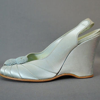 Vintage Blue Satin Wedge Daniel Green Slippers, XS Size 4-1/2, 1950s