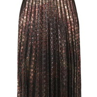Brocade Pleat Midi Skirt - Rust