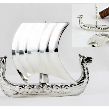 Vintage Viking Two Headed Serpent Sailing Ship Corkscrew, OSP 40 Silver-Plated
