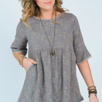 Uncle Frank Lace Trim Tunic by Ivy Jane ~ Grey