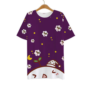 Funny Emoji Floral Cartoon 2016 Summer Style Women T Shirt