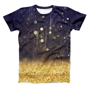 The Raining Gold and Purple Sparkle ink-Fuzed Unisex All Over Full-Printed Fitted Tee Shirt