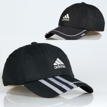 Black Adidas Embroidered Stripes Cotton Adjustable Cap