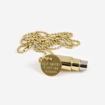 Fighting Hunger Bullet Necklace - Gold, Gold, Silver