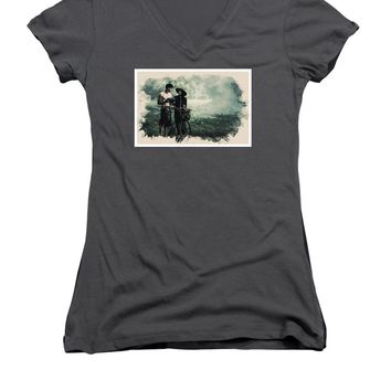 Watercolor Conseptual Landscape - Deep In The Forest - Women's V-Neck T-Shirt