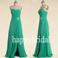 Long Green Lovely Sweetheart Prom Dresses Beaded Party Dresses Evening Dresses Homecoming Dresses 2014 New Fashion