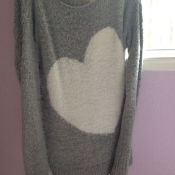 Oversized fuzzy heart Bethany Mota sweater