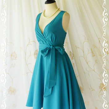 My Lady II Spring Summer Sundress Vintage Design Peacock Blue Party Dress Blue Bridesmaid Dress Garden Party Sundress Blue Dresses XS-XL