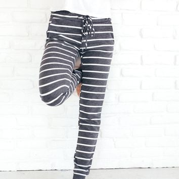 Navy Stripe Casual Jogger Pant