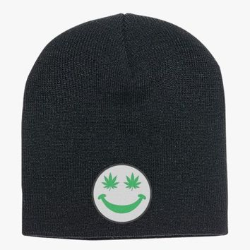 Weed Smiley Knit Beanie