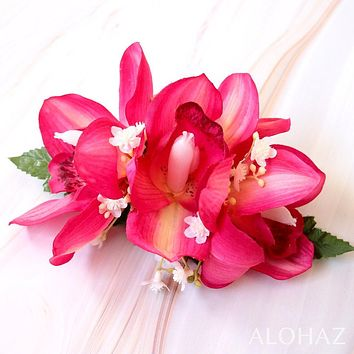 Pink Cymbidium Dream Hawaiian Flower Hair Clip