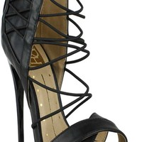 BLACK OPEN TOE LOOK MULTI STRAP DESIGN BACK ZIPPER HIGH HEEL