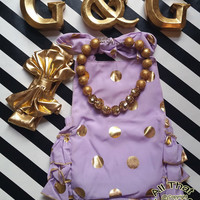 Lavender Gold Baby Rompers - Cute Lavender and Gold Polka Dot Baby Girl Toddler Girl Little Girl Ruffle Sunsuit Romper Size 3M to 4 Years