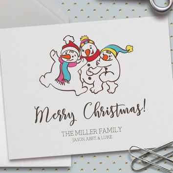 Personalized Christmas Card, Christmas Snowmen Card, Merry Christmas, Custom Family Names, Happy Holidays, Snowmen, 5.5 x 4.25 Inch (A2)