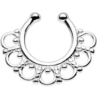Stainless Steel Tribal Blossom Non-Pierced Clip On Septum Ring | Body Candy Body Jewelry
