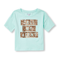 Girls Short Sleeve Embellished Graphic Crop Top   The Children's Place