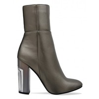 Cayla Pewter Perspex Metallic Heel Ankle Boots : Simmi Shoes