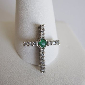 14k Estate Vintage Natural Green Emerald Pave Diamond White Gold Dainty Petite Art Deco style Birthstone slider cross pendant Something Old