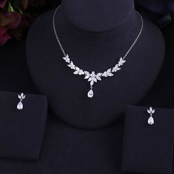 Clear BEST QUALITY BRILLIANT CRYSTAL ZIRCON EARRINGS AND NECKLACE BRIDAL JEWELRY SET WEDDING DRESS ACCESSARIES