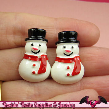 6 pc SNOWMAN Christmas Holiday Resin Flatback Kawaii Cabochons 25x16mm