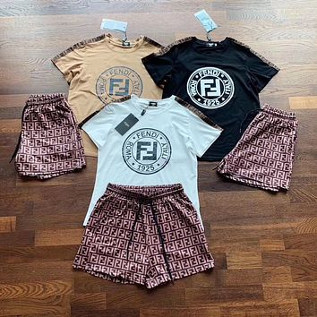 FENDI Women Fashion Short Sleeve Top Shorts Two-Piece