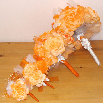 Bridal bouquet, Coffee Filter bouquets, wedding Party bouquets, Boutonniere, Corsage, Silk Flowers, Fake flower bouquets, Orange bouquets