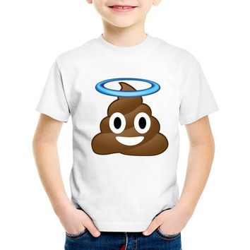 TEEHEART Boys/girls's Modal T-shirt Poo poo Emoji Print 18M-10T Summer Children Baby Girls Clothing TA263