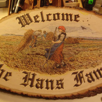 Large Basswood Home Welcome Sign , Wood burned, Colored with oil pencil and finished with tung oil