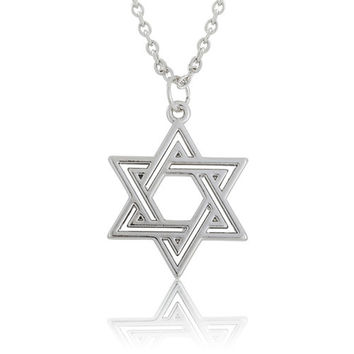 Star Of David Religious Pendant Lobster Clasp Link Chain Necklace - Unisex -450mm Length