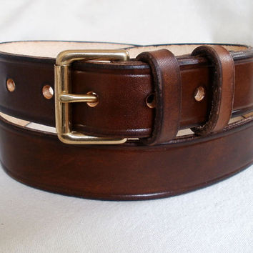 "Men leather belt, 1 1/4"", brown, solid brass roller buckle with 2 fixed loops"