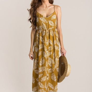 Reya Mustard Tropical Cami Dress
