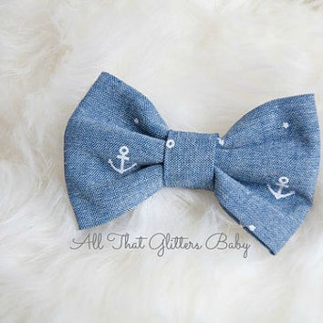 Anchor bow tie: clip on bow tie, Nautical themed bow tie, baby photo prop, baby boy gift