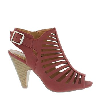 Caged Heel Sandal (RUST RED)
