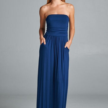 Simple and Stylish Maxi Dress - Navy