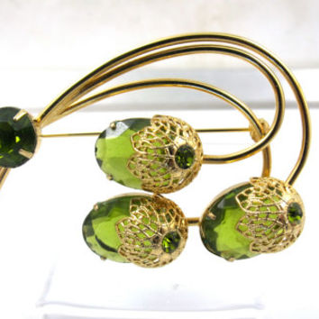 Sarah Coventry Touch Of Elegance Brooch, Vintage D&E DeLizza Elster For Sarah Coventry Pin, Book Piece, Green Peridot Glass Acorn Flower