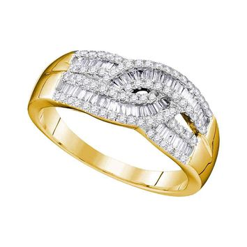 10k Yellow Gold Womens Round Baguette Diamond Fashion Band Ring 5/8 Cttw