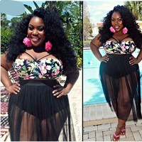 Plus Size Floral print bathing suits
