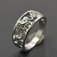 Hollow Out Cute Elephant Ring