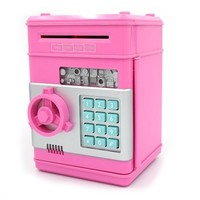 "Ibeauti Unique Plastic Piggy Banks for Kids, Password Box for Saving Money, Coins, Novelty Toys and Cool Birthday Gifts, 5.12""*4.72""*7.68"" (Pink)"