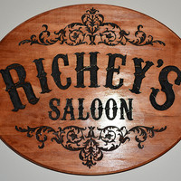 """""""Saloon"""" Western Style Custom Family Name Sign"""