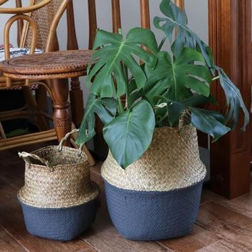 WCIC Seagrass Folding Handmade Storage Basket Decorative Rattan Plant Flower Pot Woven Wicker Belly Laundry Basket Home Decor