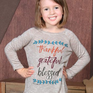 Southern Grace  Girls' Thankful Grateful Blessed  Tan Fall Tunic