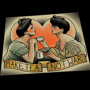 Make Tea Not War Tattoo Art Print
