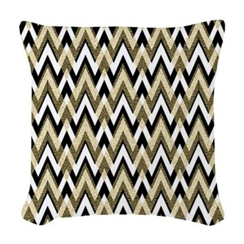 BLACK AND GOLD CHEVRON ELEGANC WOVEN THROW PILLOW