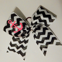 Super Cute Chevron Black and White Sparkly Monogram Anchor Cheer Bow